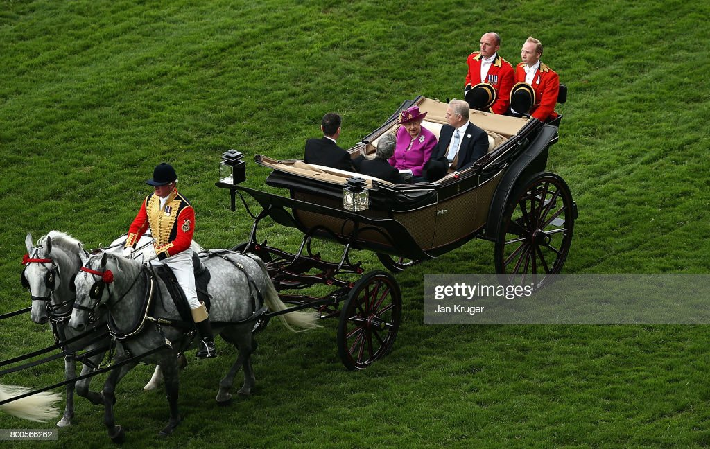 Queen Elizabeth II, Prince Andrew, Duke of York, Mr Stephen Knott and Mr John Warren arrive in the Royal Procession on day 5 of Royal Ascot at Ascot Racecourse on June 24, 2017 in Ascot, England.