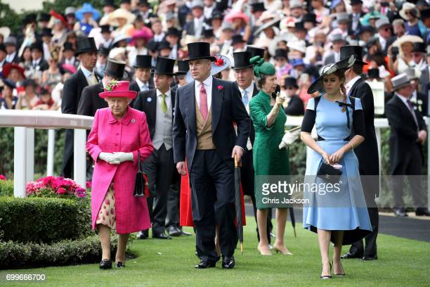 Queen Elizabeth II Prince Andrew Duke of York Princess Anne Princess Royal and Princess Beatrice of York are seen in the Parade Ring as they attend...