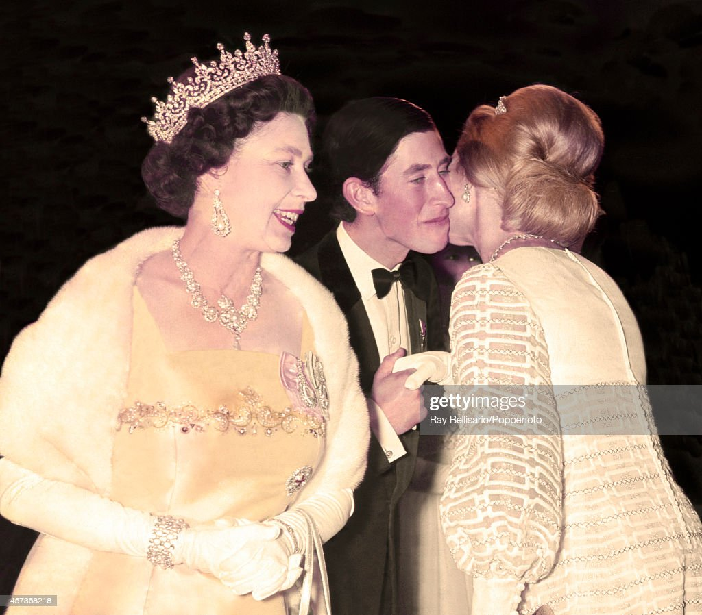 Queen Elizabeth II, Prince Charles and the Duchess of Kent arrive at the Dominion Theatre in London for a film premiere on 20th October 1969.