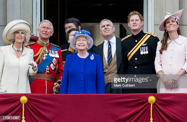 Queen Elizabeth II Prince Charles Prince of Wales Camilla Duchess of Cornwall Catherine Duchess of Cambridge Prince Harry and Prince Andrew Duke of...