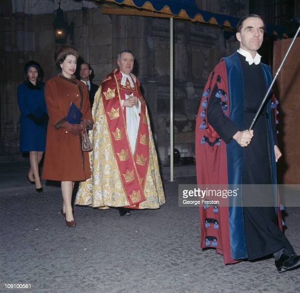 Queen Elizabeth II Prince Philip and Princess Anne visit Westminster Abbey in London to take part in its 900th anniversary celebrations 28th December...