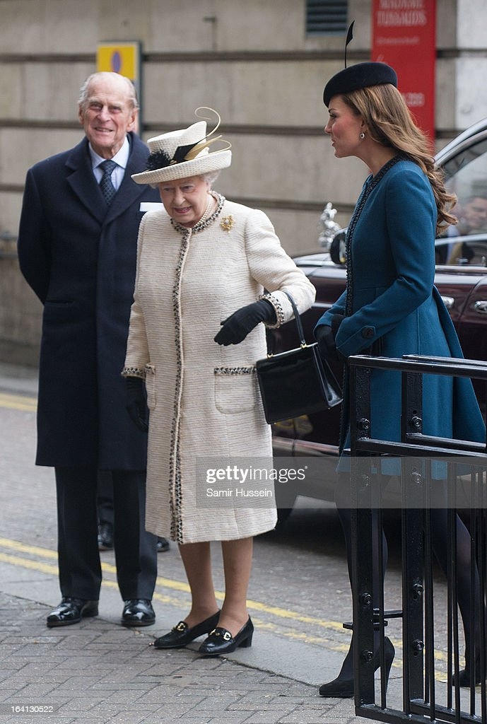Queen Elizabeth II, Prince Philip, Duke of Edinburgh and Catherine, Duchess of Cambridge visit Baker Street Underground Station to celebrate the Underground's 150th Birthday on March 20, 2013 in London, England.