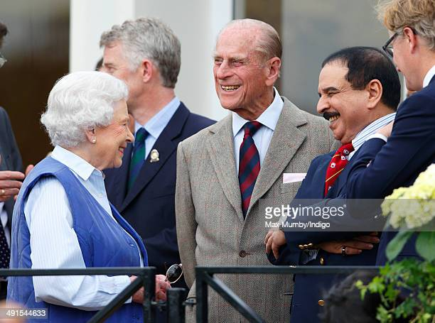 Queen Elizabeth II Prince Philip Duke of Edinburgh and Hamad bin Isa AlKhalifa King of Bahrain attend the Royal Windsor Endurance event on day 3 of...