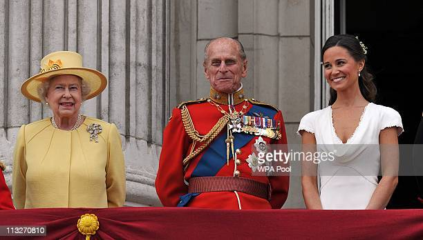 Queen Elizabeth II Prince Philip Duke of Edinburgh and Pippa Middleton on the balcony at Buckingham Palace after the Royal Wedding of Prince William...