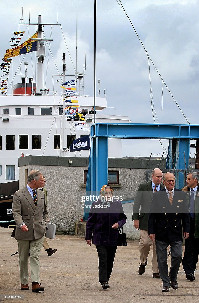 Queen Elizabeth II, Prince Philip, Duke of Edinburgh and Prince Charles, Prince of Wales disembark the Hebridean Princess with other members of the Royal Family in Scrabster Harbour on August 2, 2010 in Scrabster, Scotland. The Queen and Duke of Edinburgh along with the royal family have been on a ten day cruise to celebrate the 60th birthday of The Princess Royal next month and the 50th birthday of The Duke of York earlier this year.