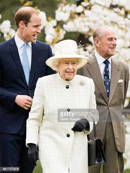 Queen Elizabeth II Prince Philip Duke of Edinburgh and Prince William Duke of Cambridge attend the unveiling of the Windsor Greys Statue on March 31...