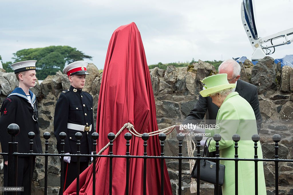 Queen <a gi-track='captionPersonalityLinkClicked' href=/galleries/search?phrase=Elizabeth+II&family=editorial&specificpeople=67226 ng-click='$event.stopPropagation()'>Elizabeth II</a> & Prince Philip, Duke Of Edinburgh attend the unveiling of the Robert Quigg VC memorial statue in Bushmills village on June 28, 2016 in Bushmills, Northern Ireland.