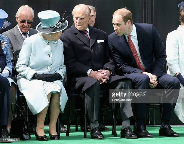 Queen Elizabeth II Prince Philip Duke of Edinburgh chat to Prince William Duke of Cambridge at a Magna Carta 800th Anniversary Commemoration Event on...