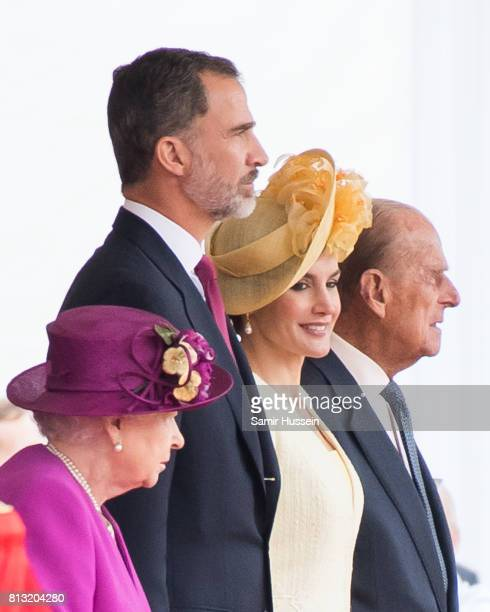 Queen Elizabeth II Prince Philip Duke of Edinburgh King Felipe VI and Queen Letizia of Spain attend a Ceremonial Welcome on Horse Guards Parade...