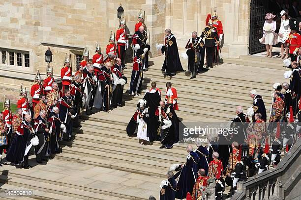 Queen Elizabeth II Prince Philip Duke of Edinburgh leave after attending the annual Order of the Garter Service at St George's Chapel on June 18 2011...