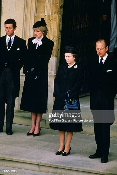 Queen Elizabeth II Prince Philip Duke of Edinburgh Prince Charles Prince of Wales and Diana Princess of Wales attend the funeral of the Duchess of...