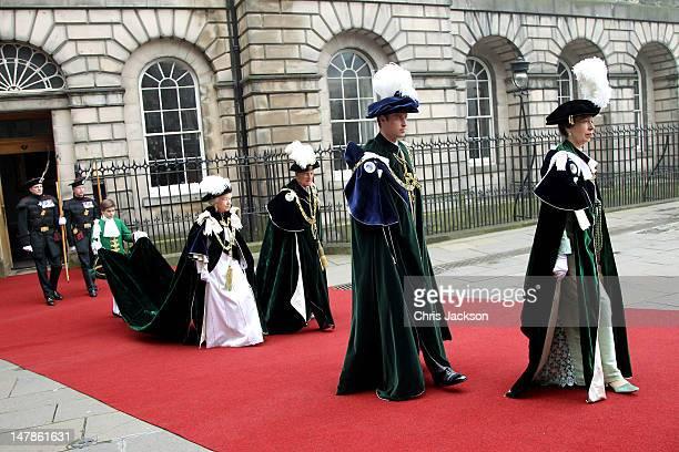 Queen Elizabeth II Prince Philip Duke of Edinburgh Prince William Duke of Cambridge and Princess Anne Princess Royal leave the Signet Library to head...