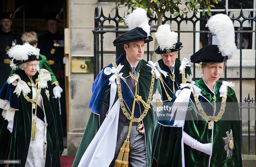 Queen Elizabeth II, Prince Philip, Duke of Edinburgh, Prince William, Duke Of Cambridge and Princess Anne, Princess Royal attend the Thistle Service at St Giles' Cathedral on July 3, 2014 in Edinburgh, Scotland. The Queen and The Duke of Edinburgh have spent the week in Scotland attending various events and staying at the Palace of Holyroodhouse. The visit comes before the referendum vote on the 18th September.