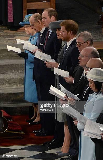 Queen Elizabeth II Prince Philip Duke of Edinburgh Prince William Duke of Cambridge Catherine Duchess of Cambridge and Prince Harry attend the annual...