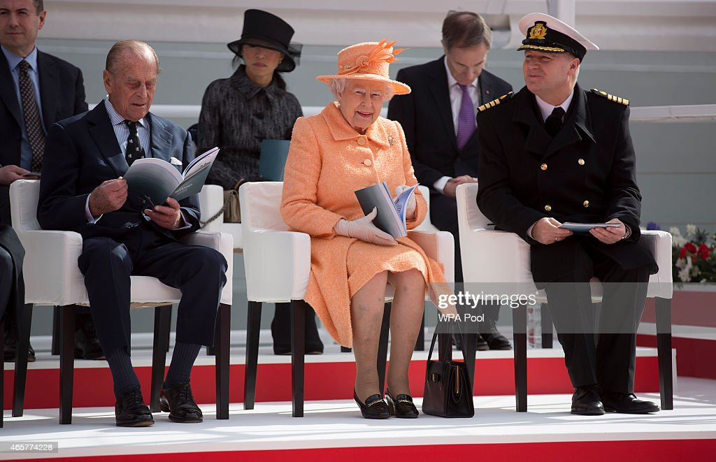 Queen Elizabeth II, Prince Philip, Duke of Edinburgh, ships master Captain Paul Brown at the official naming ceremony of 'Britannia' the new flagship P&O fleet at Ocean Cruise Terminal on March 10, 2015 in Southampton, England. Britannia will carry over 3647 passengers and at 141,000 tons she will boost P&O's cruise ship capacity by 24%.