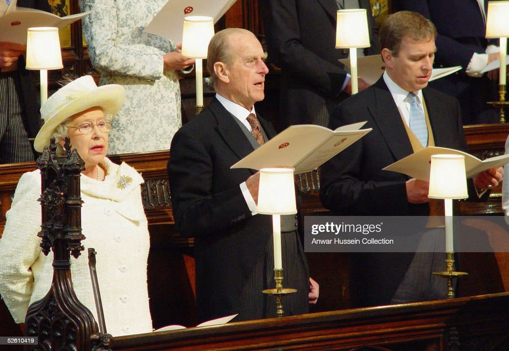 HM Queen Elizabeth II, Prince Philip the Duke of Edinburgh and Prince Andrew the Duke of York attend the Service of Prayer and Dedication following the marriage of TRH Prince Charles and The Duchess Of Cornwall, Camilla Parker Bowles at The Guildhall, at Windsor Castle on April 9, 2005 in Berkshire, England.
