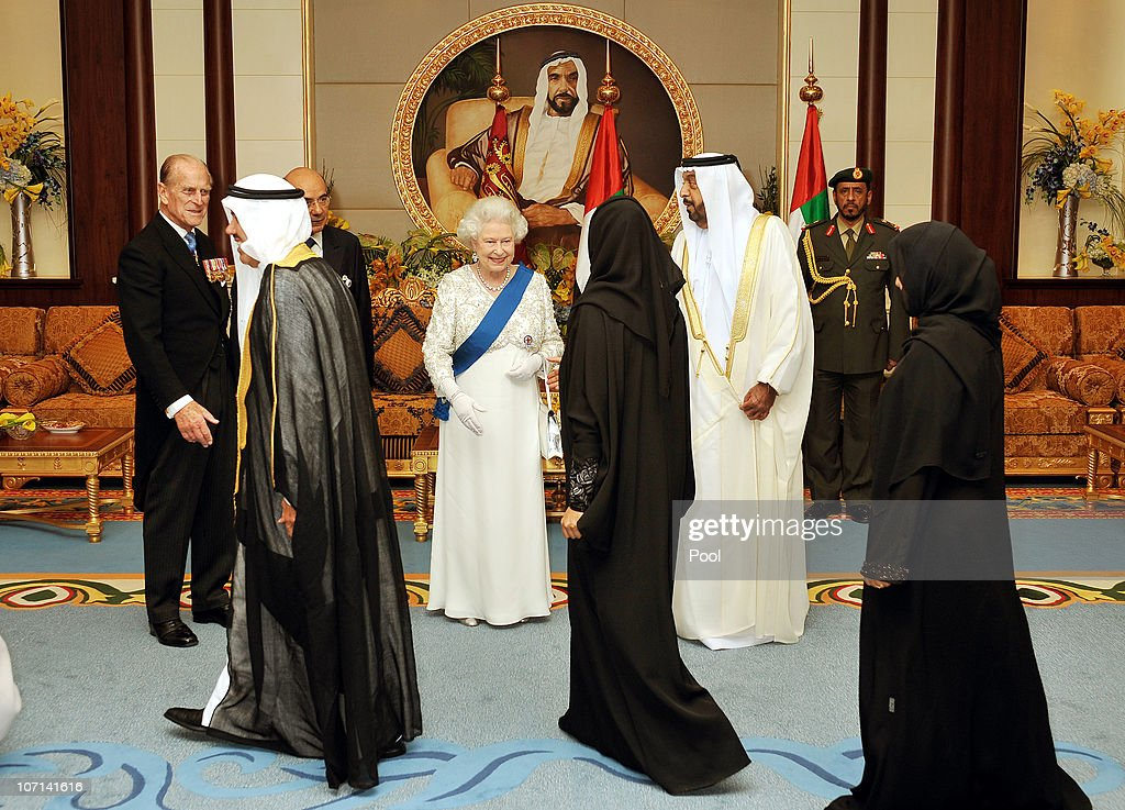 Queen Elizabeth II, Prince Philip the Duke of Edinburgh (far left) and Sheikh Khalifa Bin Zayed al Nahyan the President of the United Arab Emirates, greet guests at the Mushrif Palace on November 25, 2010 in Abu Dhabi, United Arab Emirates. Queen Elizabeth II and Prince Philip, Duke of Edinburgh are in Abu Dhabi on a State Visit to the Middle East. The Royal couple will spend two days in Abu Dhabi and three days in Oman.