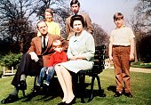 M Queen Elizabeth II Prince Philip with Princess Anne Prince Charles Prince Andrew Prince Edward