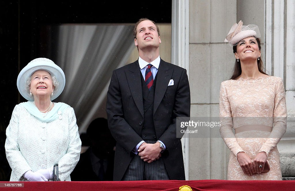 Queen Elizabeth II, Prince William, Duke of Cambridge and Catherine, Duchess of Cambridge on the balcony of Buckingham Palace after the service of thanksgiving at St.Paul's Cathedral on June 5, 2012 in London, England. For only the second time in its history the UK celebrates the Diamond Jubilee of a monarch. Her Majesty Queen Elizabeth II celebrates the 60th anniversary of her ascension to the throne. Thousands of wellwishers from around the world have flocked to London to witness the spectacle of the weekend's celebrations.