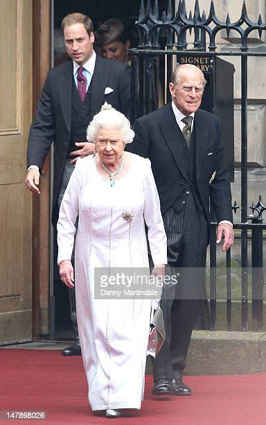 Queen Elizabeth II Prince William Duke of Cambridge and Prince Philip Duke of Edinburgh leave the Signet Library after lunch on July 5 2012 in...