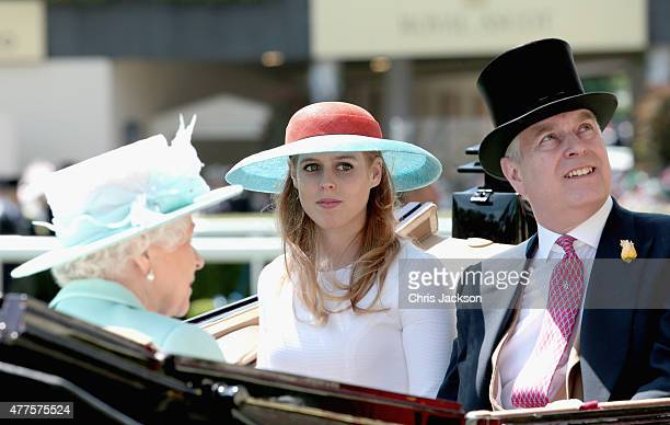 Queen Elizabeth II Princess Beatrice and Prince Andrew Duke of York arrive in the Parade Ring they attend Ladies Day on day 3 of Royal Ascot at Ascot...