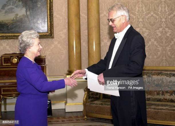 HRH Queen Elizabeth II received His Excellency the Ambassador of Switzerland Mr Bruno Spinner who presents his letter of credence during the ceremony...