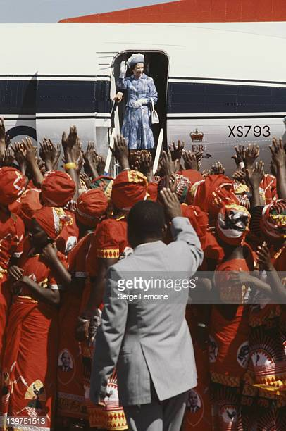 Queen Elizabeth II receives an enthusiastic welcome upon her arrival in Malawi July 1979