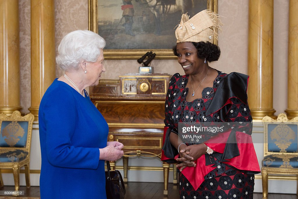Queen Elizabeth II receives Her Excellency Mrs Aichatou Sanni Aoudou where she presented her Letters of Credence as Ambassador from the Gabonese Republic to the Court of St James's at Buckingham Palace on December 9, 2015 in London, England.