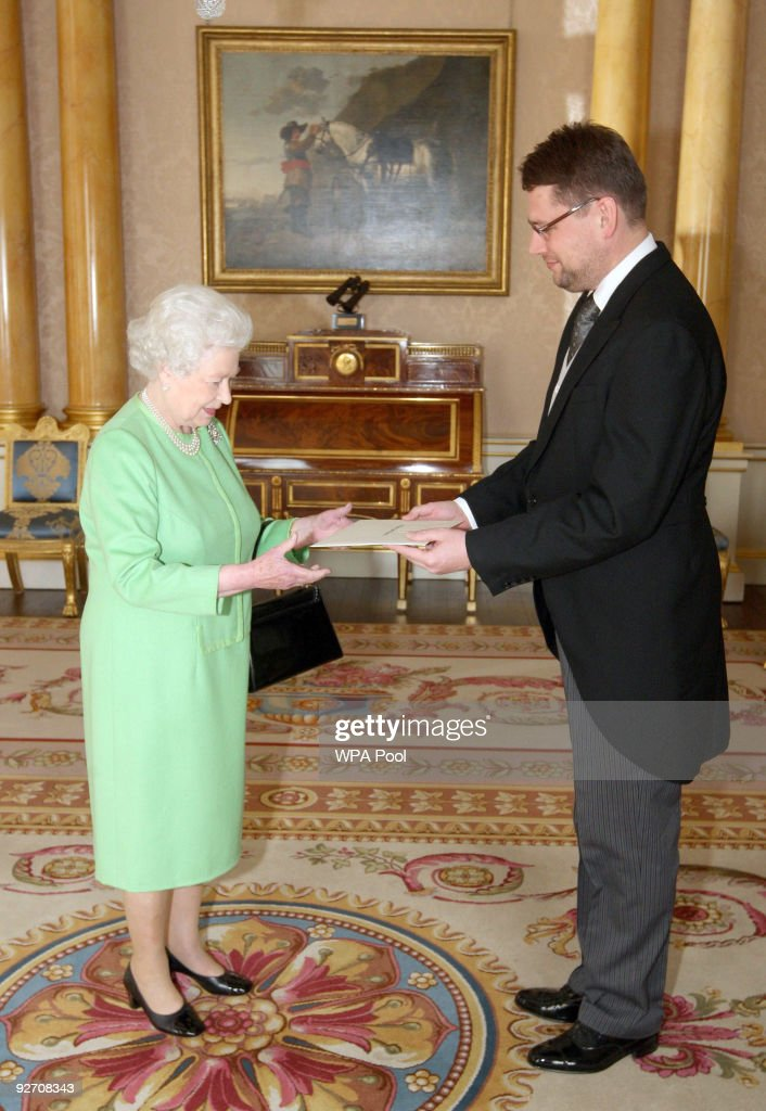 Queen Elizabeth II receives the Ambassador of Latvia, Eduards Stiprais at Buckingham Palace on November 4, 2009 in London, England.