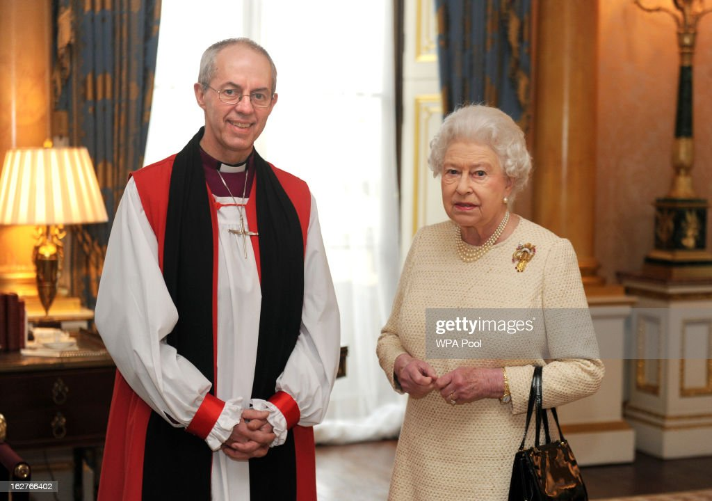 Queen Elizabeth II receives the Archbishop of Canterbury, the Most Reverend Justin Welby, at Buckingham Palace, after his act of 'Homage' upon his appointment, on February 26, 2013 in London, England.