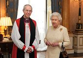 Queen Elizabeth II receives the Archbishop of Canterbury the Most Reverend Justin Welby at Buckingham Palace after his act of 'Homage' upon his...