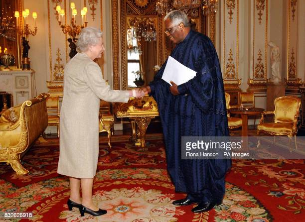 Queen Elizabeth II receives the High Commissioner of Sierra Leone Mr Melvin Humpah Chalobah at London's Buckingham Palace