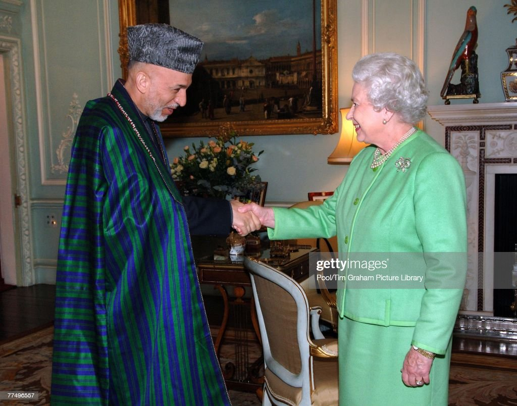 queen elizabeth ii receives the president of afghanistan hamid karzai in the private audience