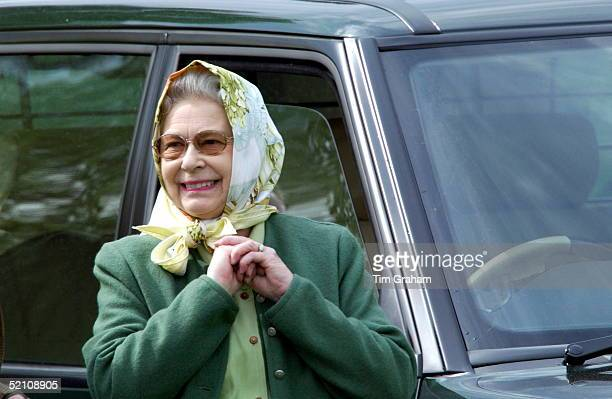 Queen Elizabeth II Relaxed And Laughing In Headscarf And Casual Clothes Watching Her Husband Prince Philip Taking Part In The International Driving...