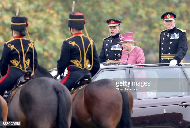 Queen Elizabeth II reviews the King's Troop Royal Horse Artillery during their 70th anniversary parade at Hyde Park on October 19 2017 in London...
