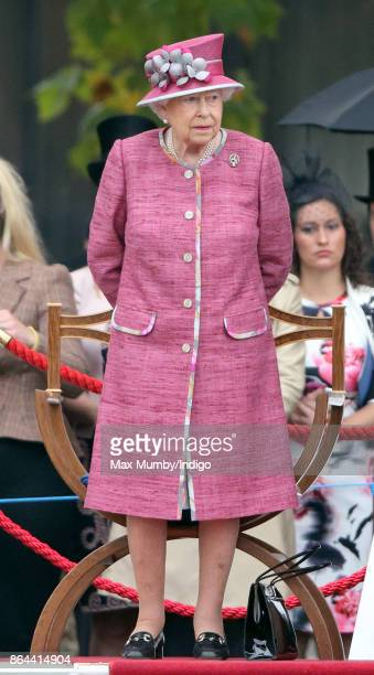 Queen Elizabeth II reviews the King's Troop Royal Horse Artillery during their 70th anniversary parade in Hyde Park on October 19 2017 in London...