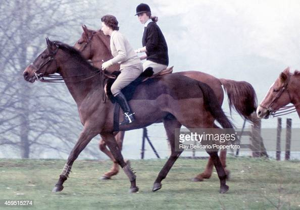 Queen Elizabeth II riding with her daughter Princess Anne in Windsor Park on 22nd April 1968 This image is one of a series taken by Ray Bellisario...