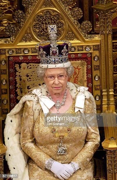 Queen Elizabeth II Seated On A Thone At The State Opening Of Parliament Held In The House Of Lords The Queen Is Wearing The Traditional Imperial Crown