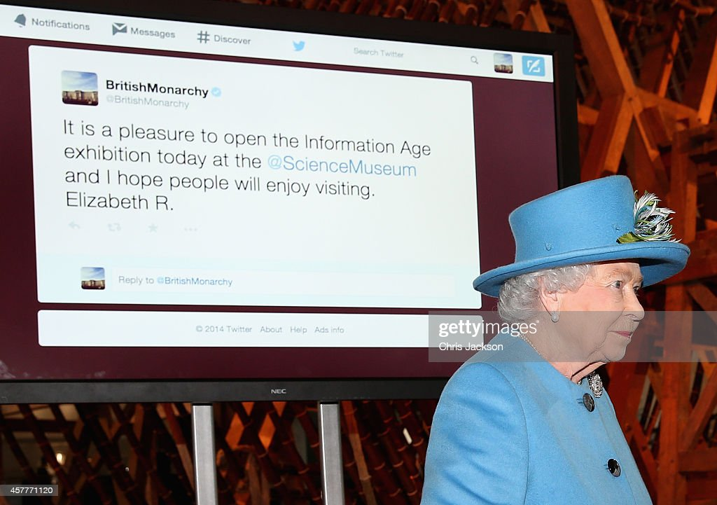 Queen <a gi-track='captionPersonalityLinkClicked' href=/galleries/search?phrase=Elizabeth+II&family=editorial&specificpeople=67226 ng-click='$event.stopPropagation()'>Elizabeth II</a> sends her first Tweet during a visit to the 'Information Age' Exhibition at the Science Museum on October 24, 2014 in London, England.