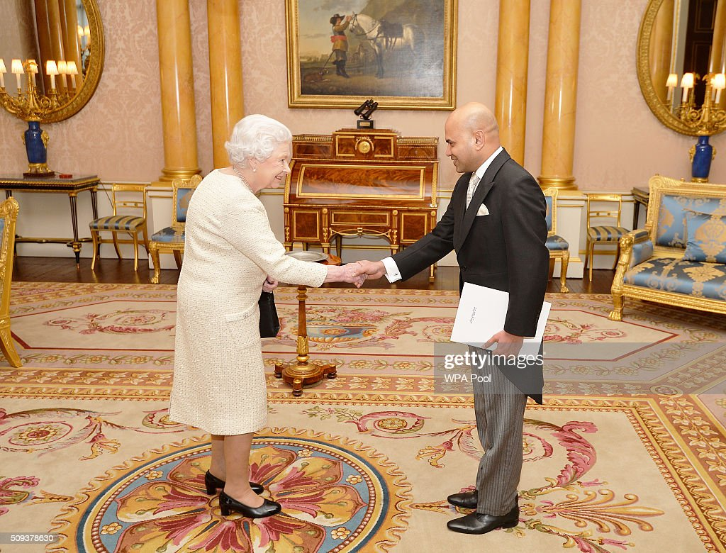 Queen <a gi-track='captionPersonalityLinkClicked' href=/galleries/search?phrase=Elizabeth+II&family=editorial&specificpeople=67226 ng-click='$event.stopPropagation()'>Elizabeth II</a> shakes hands with His Excellency Mr Ahmed Shiaan the High Commissioner of the Republic of The Maldives, before he presented his Letters of Credence during a private audience, at Buckingham Palace in Westminster on February 10, 2016 in London, England.