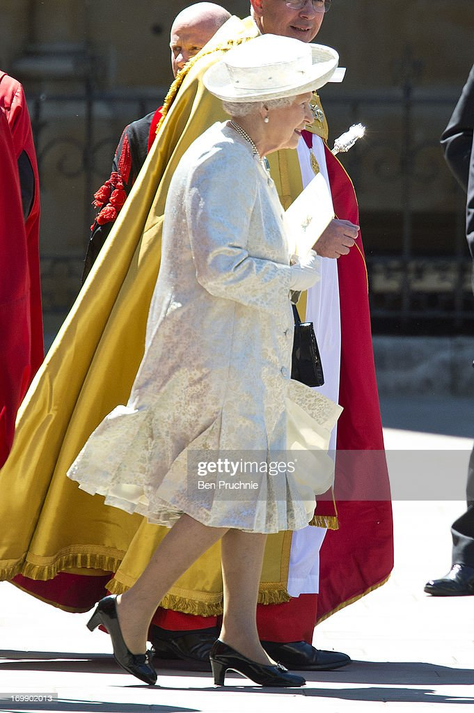 Queen <a gi-track='captionPersonalityLinkClicked' href=/galleries/search?phrase=Elizabeth+II&family=editorial&specificpeople=67226 ng-click='$event.stopPropagation()'>Elizabeth II</a> sighted departing the Service Of Celebration For The 60th Anniversary Of The Queen's Coronation on June 4, 2013 in London, England.