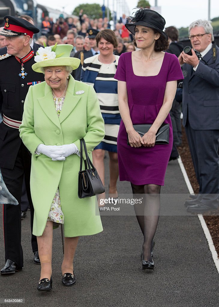 Queen <a gi-track='captionPersonalityLinkClicked' href=/galleries/search?phrase=Elizabeth+II&family=editorial&specificpeople=67226 ng-click='$event.stopPropagation()'>Elizabeth II</a> smiles after arriving on a steam train to open the new Bellarena Railway Station after travelling from Coleraine Railway Station on June 28, 2016 in Bellarena, Northern Ireland, United Kingdom. The Queen and The Duke of Edinburgh unveiled a plaque to mark the opening of the Bellarena Railway Station before they departed Northern Ireland.