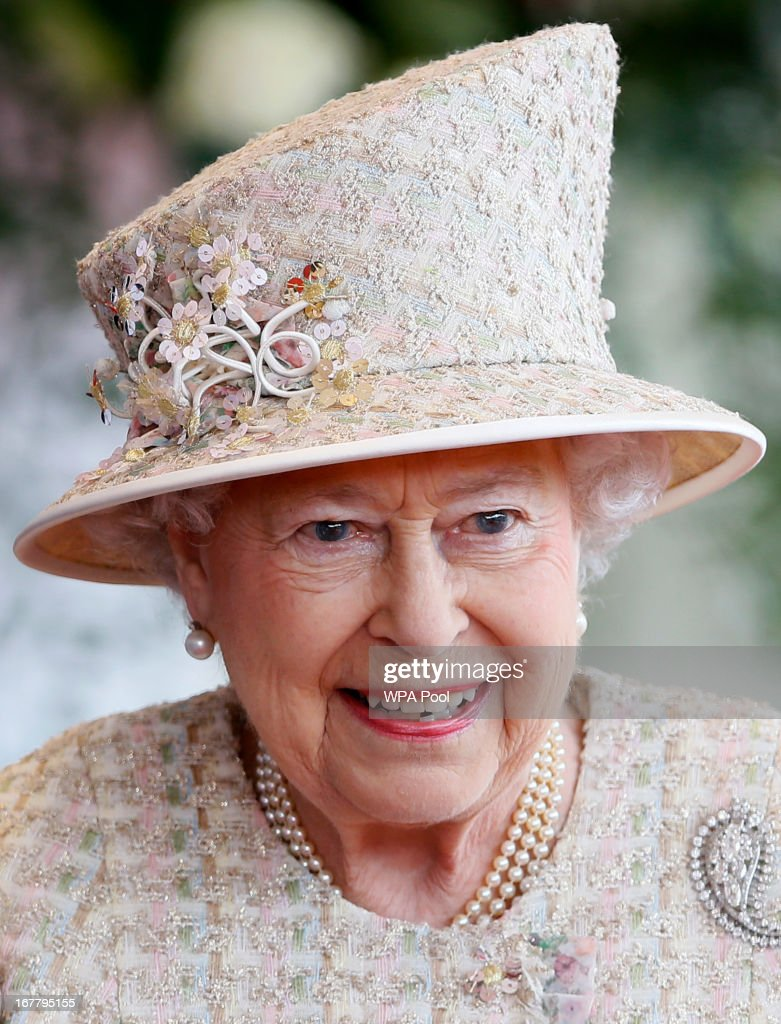Queen Elizabeth II smiles as she and Prince Philip, the Duke of Edinburgh await the arrival of President of the United Arab Emirates, His Highness Sheikh Khalifa bin Zayed Al Nahyan for a ceremonial welcome on April 30, 2013 in Windsor, England. President Sheikh Khalifa begins a State visit to the UK today, the first for a UEA President in 24 years. Sheikh Khalifa will meet the British Prime Minister David Cameron tomorrow at his Downing Street residence.