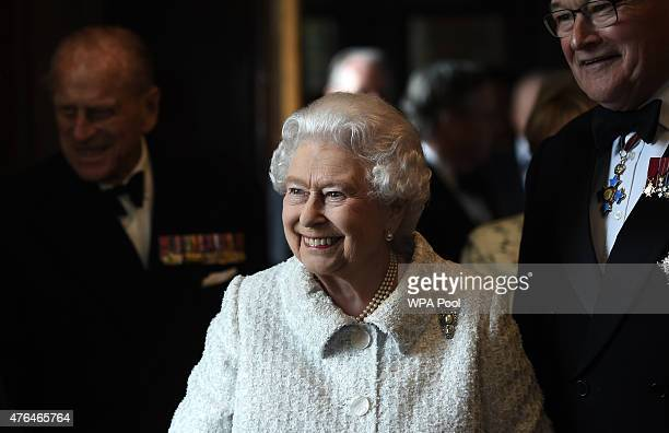 Queen Elizabeth II smiles as she arrives for the Gurkha 200 pageant in the grounds of the Royal Hospital Chelsea on June 9 2015 in London United...