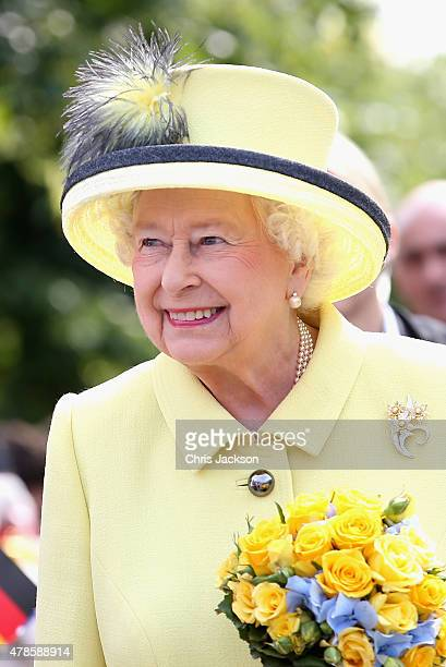 Queen Elizabeth II smiles as she departs the Adlon Hotel on the final day of a four day State Visit to Germany on June 26 2015 in Berlin Germany