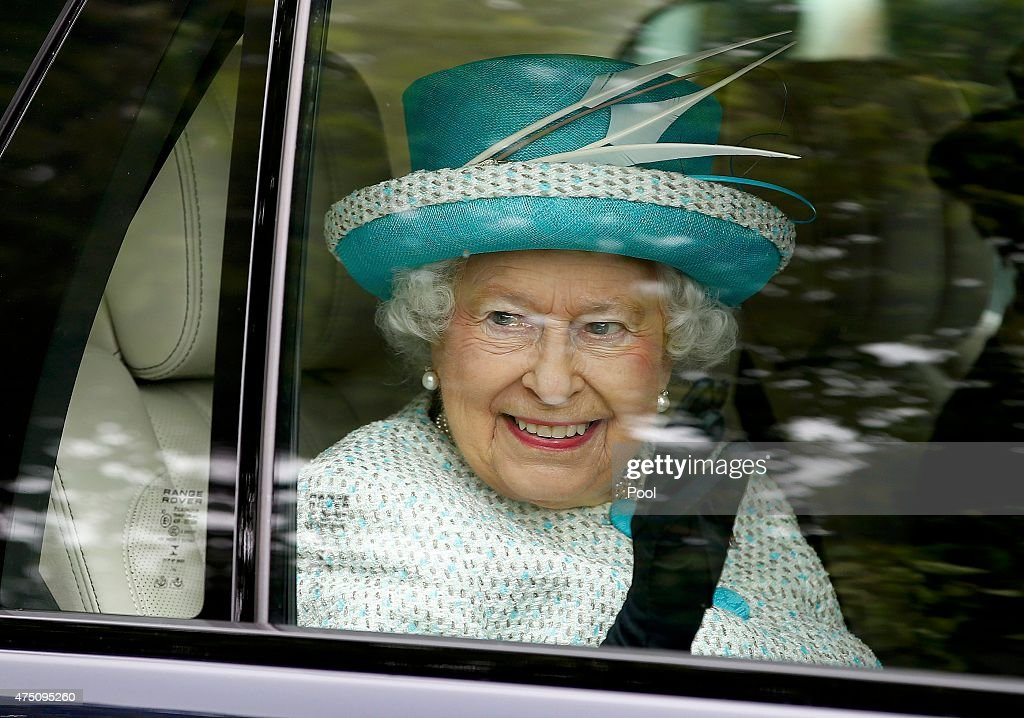 Queen Elizabeth II smiles as she leaves after visiting Myerscough College on May 29, 2015 in Lancaster, England.