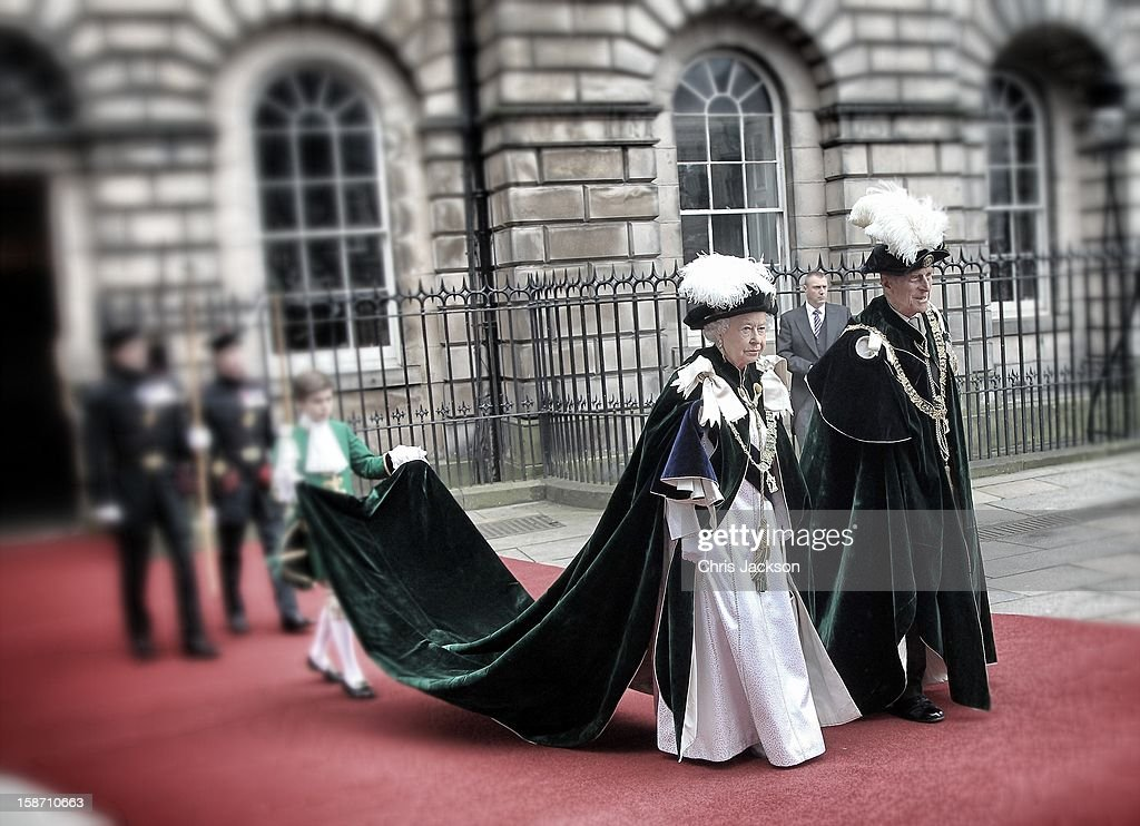 Queen Elizabeth II smiles as she leaves St Giles Cathederal after the Thistle Ceremony on July 5, 2012 in Edinburgh, Scotland. Prince William, Duke of Cambridge will today be installed into the historic Order of the Thistle in a ceremony in Edinburgh attended by the Queen and the Duke of Edinburgh.