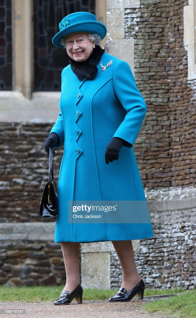 Queen <a gi-track='captionPersonalityLinkClicked' href=/galleries/search?phrase=Elizabeth+II&family=editorial&specificpeople=67226 ng-click='$event.stopPropagation()'>Elizabeth II</a> smiles as she leaves St Mary Magdalene Church after attending the traditional Christmas Day church service on December 25, 2012 in Sandringham, near King's Lynn, England.