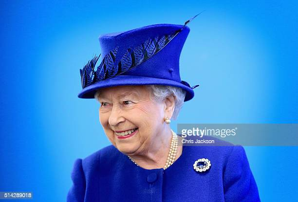 Queen Elizabeth II smiles as she meets people being helped by the Prince's Trust at the Prince's Trust Centre in Kennington on March 8 2016 in London...