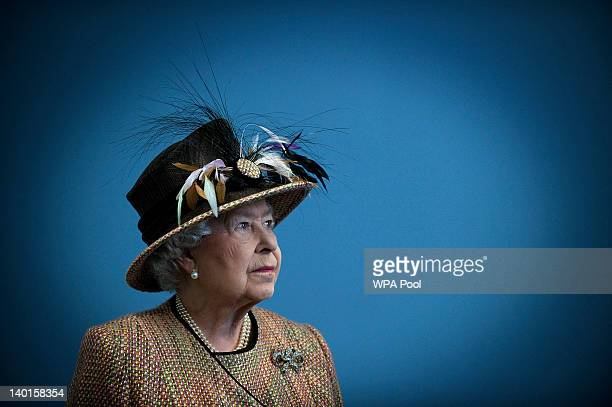 Queen Elizabeth II smiles as she opens the refurbished East Wing of Somerset House on February 29 2011 in London England